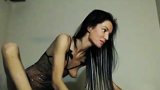 Flexibledoll 12min skinny brunette feet shoes licking