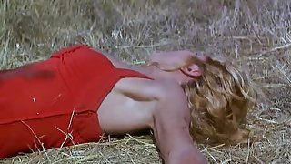 Ellen Barkin naked lying beside a stream on her back with